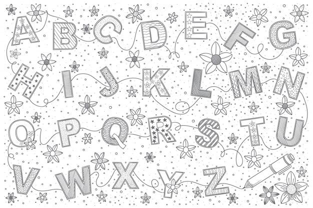 Zestaw Doodle Alfabetu Premium Wektorów