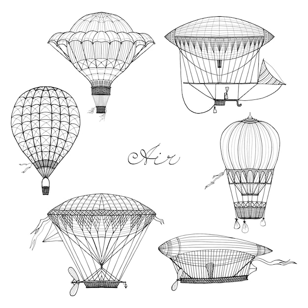 Zestaw Doodle Balon I Sterowiec Darmowych Wektorów