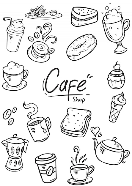 Zestaw doodle cafe ilustracji Premium Wektorów