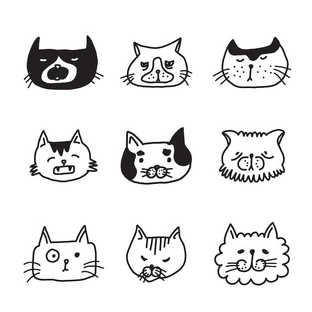 Zestaw doodle głowy kotów Premium Wektorów