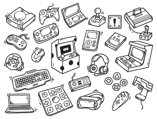 Zestaw doodle gry wideo Premium Wektorów