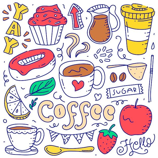 Zestaw doodle kawa element obiektu ręcznie rysowane stylu Premium Wektorów