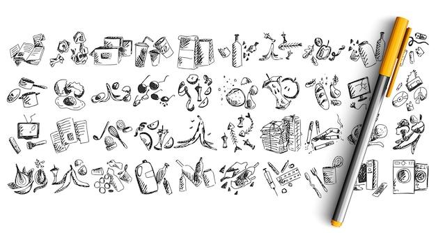 Zestaw Doodle Kosza Na Białym Tle Premium Wektorów