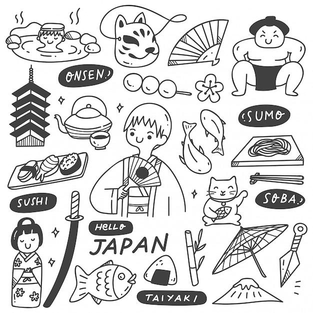 Zestaw Doodle Kultury Japonii Premium Wektorów