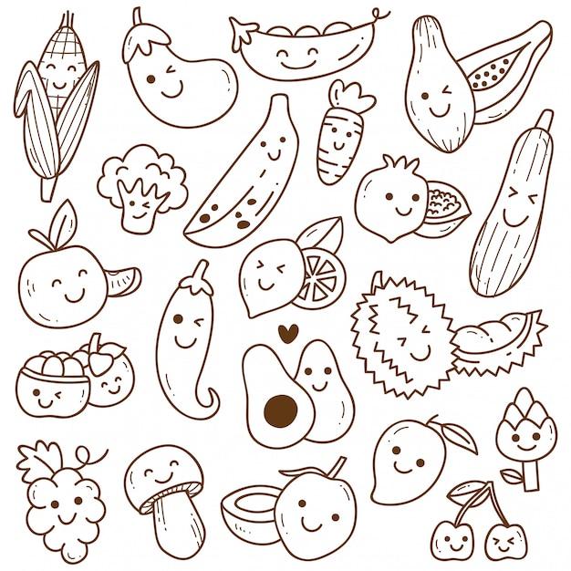 Zestaw doodle owoców i warzyw kawaii Premium Wektorów