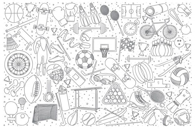 Zestaw Doodle Sportu Premium Wektorów