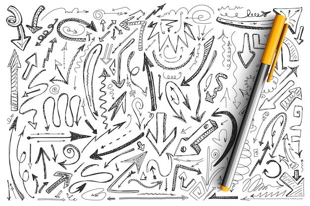 Zestaw Doodle Strzałki. Zbiór Różnych Kształtów Okrągłe Skręcone Ręcznie Rysowane Kursory Komputerowe Grot Strzałki Premium Wektorów