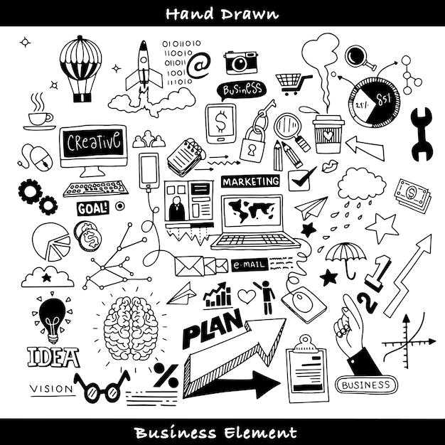 Zestaw doodles biznesowych Premium Wektorów