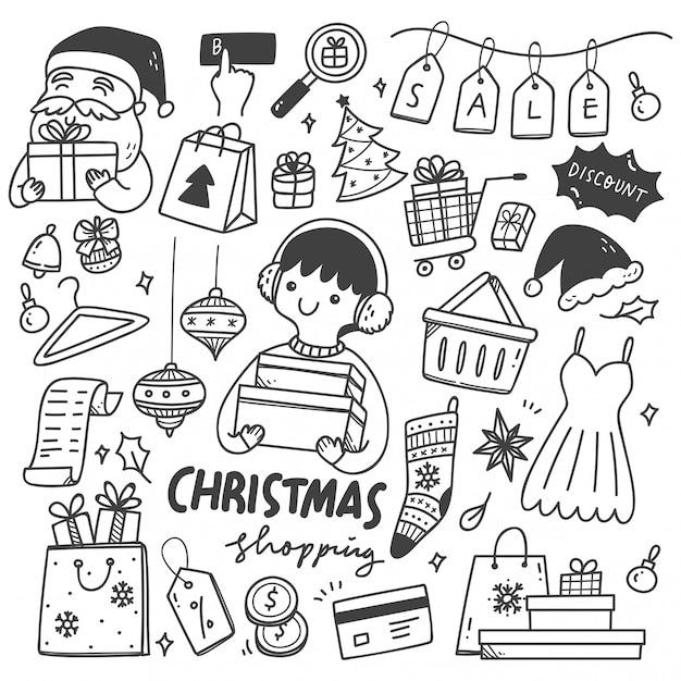Zestaw Doodles świątecznej Sprzedaży Premium Wektorów