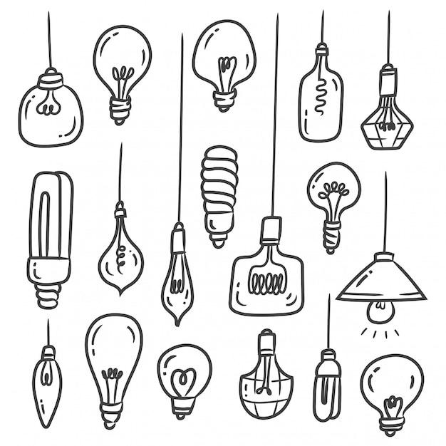 Zestaw doodles żarówki na białym tle Premium Wektorów