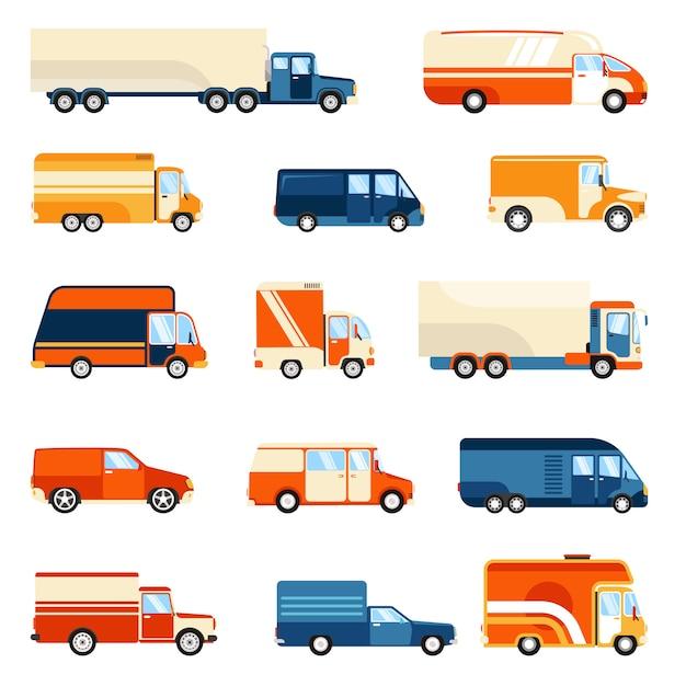 Zestaw dostaw ciężarówek Darmowych Wektorów