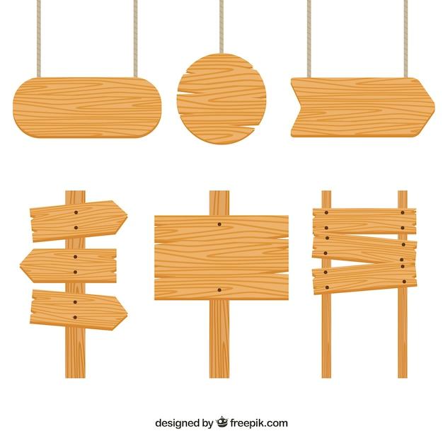Zestaw Drewniane Znaki Premium Wektorów