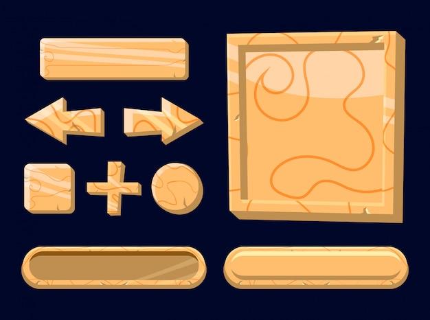Zestaw Drewniany Przycisk Szablon Dla Elementów Zasobów Gry 2d Premium Wektorów