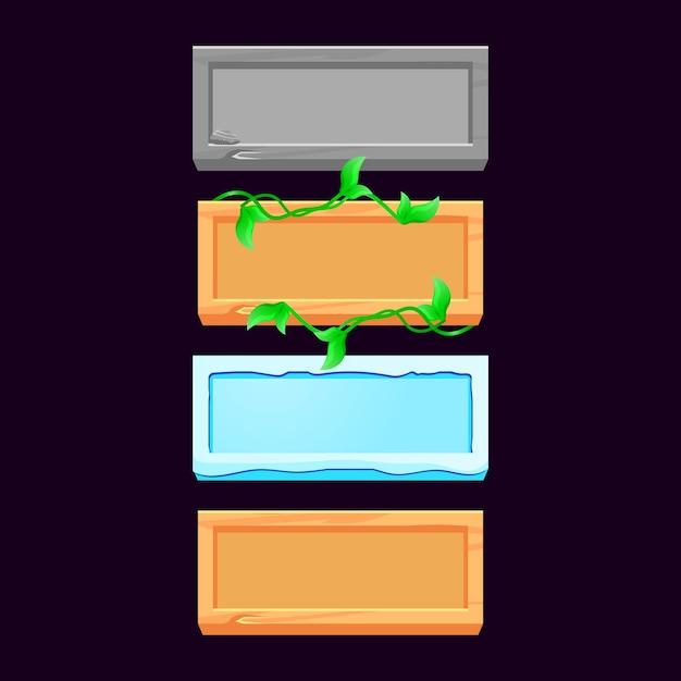 Zestaw Drewnianych, Kamiennych, Lodowych, Drewnianych Listków Do Elementów Zasobów Interfejsu Gry Premium Wektorów