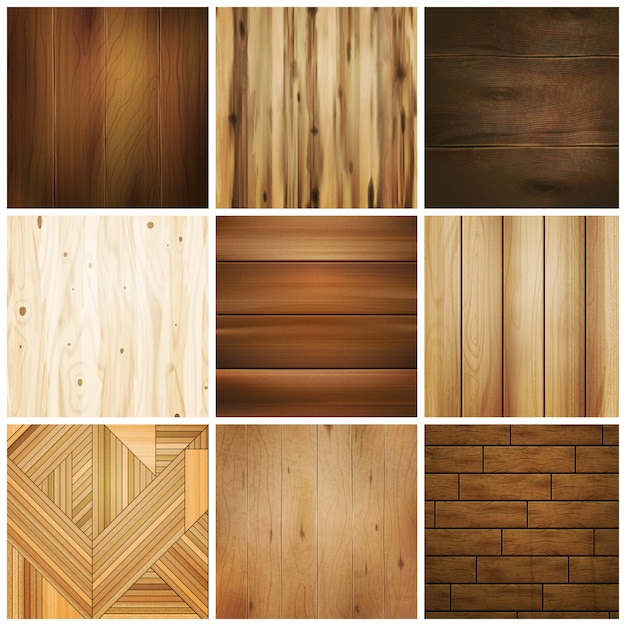 Zestaw Drewnianych Płytek Podłogowych Darmowych Wektorów