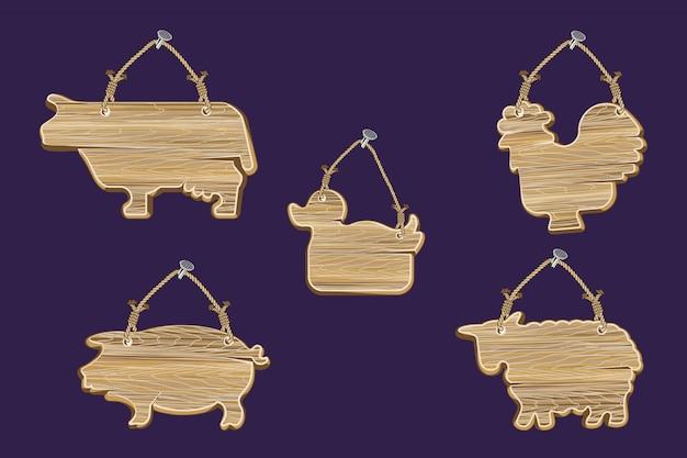 Zestaw Drewnianych ścian W Kształcie Zwierząt Premium Wektorów