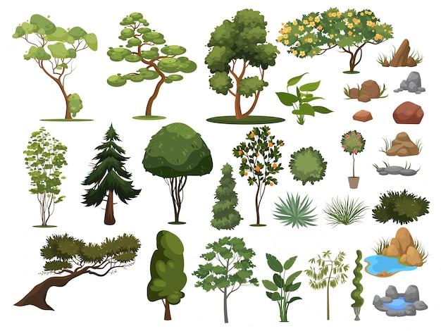 Zestaw Drzew I Krzewów. Kolekcja Elementów Krajobrazu. Ilustracja. Premium Wektorów