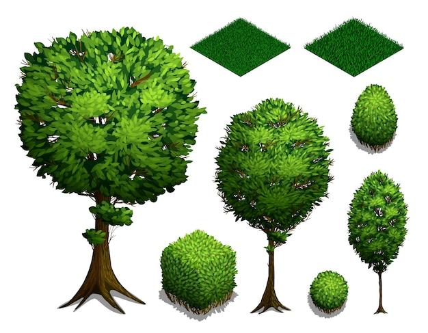 Zestaw Drzew Izometryczny. Realistyczne Izometryczne Krzewy, Drzewa I Trawa Na Białym Tle. Ikona Płaski Izometryczny Premium Wektorów
