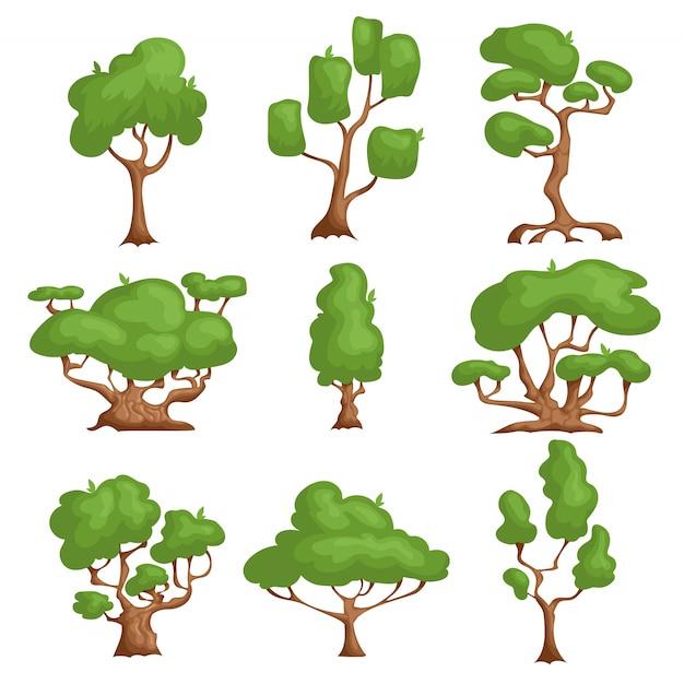 Zestaw Drzew Kreskówek. Różne Rodzaje Roślin W Stylu Komiksowym. Premium Wektorów