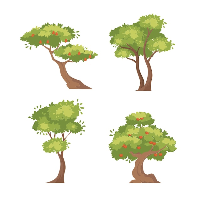 Zestaw Drzew Owocowych Bonsai Zielona Zieleń Rośliny Ilustracja Kwiatowy Kolekcja Premium Wektorów