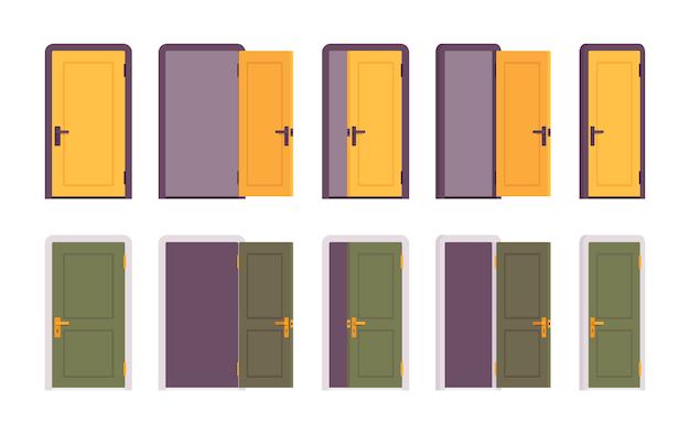 Zestaw drzwi w kolorze żółtym i zielonym Premium Wektorów