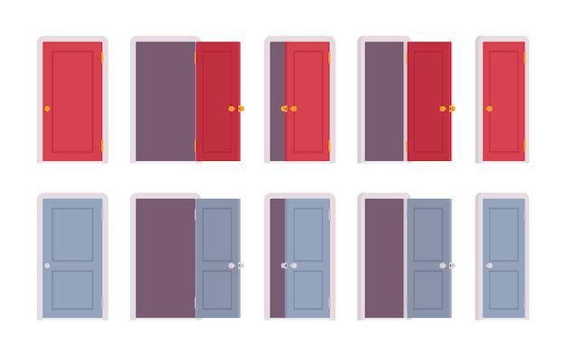 Zestaw drzwi w różnych pozycjach Premium Wektorów