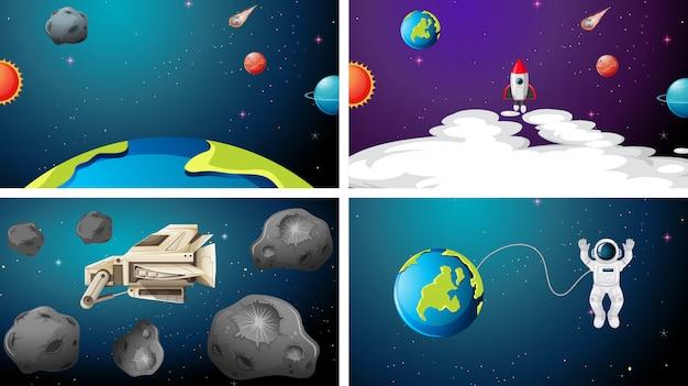 Zestaw Dużej Sceny Kosmicznej Darmowych Wektorów