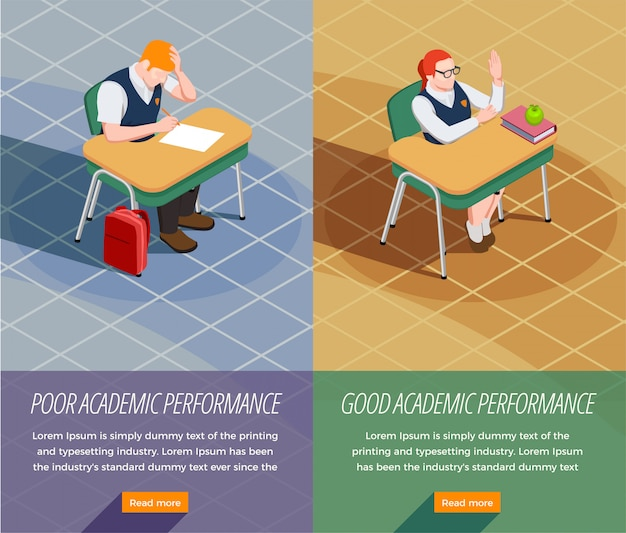 Zestaw Dwóch Pionowych Sztandarów Izometrycznych Osób Z Liceum Z Kompozycjami Uczniów Nieosiągających I Przyszłych Darmowych Wektorów