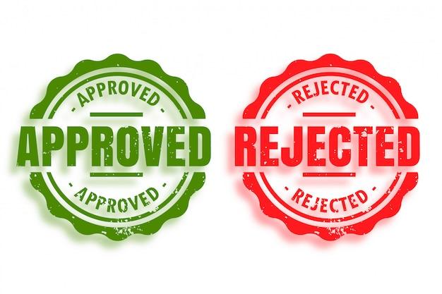 Zestaw Dwóch Zatwierdzonych I Odrzuconych Pieczątek Darmowych Wektorów
