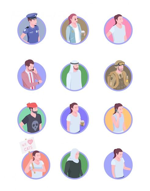 Zestaw Dwunastu Ludzi Na Białym Tle Izometryczny Ikony Awatary Ludzi Z Doodle Ludzkich Postaci Darmowych Wektorów
