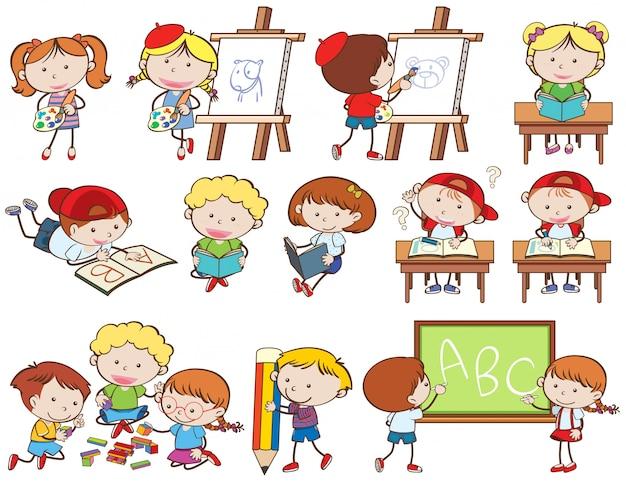 Zestaw Dzieci Robiących Zajęcia Premium Wektorów