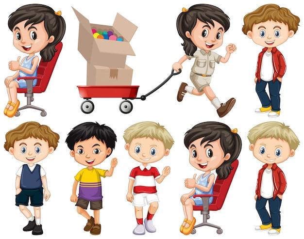Zestaw dzieci tematu na białym tle obiektów Darmowych Wektorów