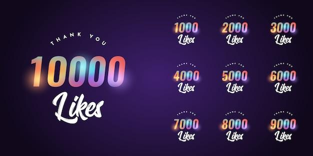 Zestaw Dziękuję 1000 Polubień Do 10000 Polubień Szablonu Premium Wektorów