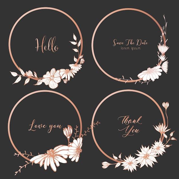 Zestaw dzielników okrągłe ramki, ręcznie rysowane kwiaty. Premium Wektorów