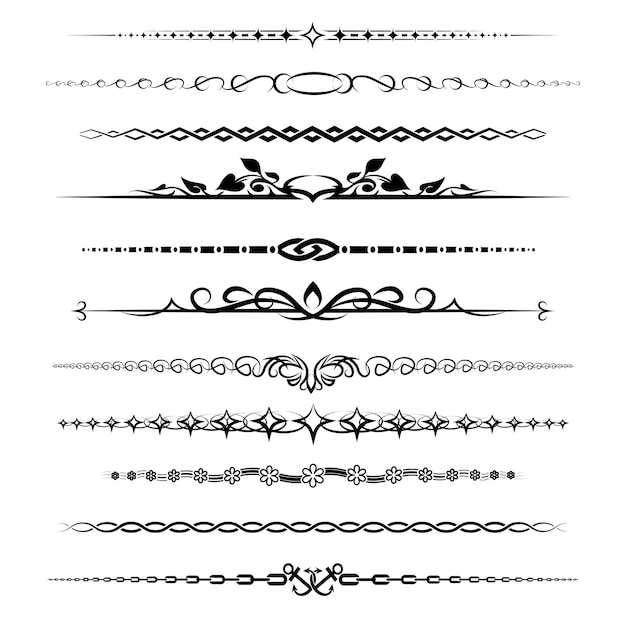 Zestaw Dzielników Rozdziałów. Element Retro Dekoracji Vintage Darmowych Wektorów