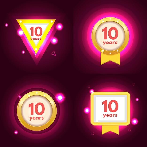 Zestaw dziesięciu logo rocznicy Premium Wektorów