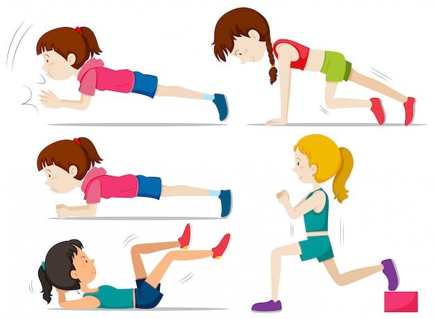 Zestaw Dziewcząt Robi ćwiczenia Fitness Darmowych Wektorów