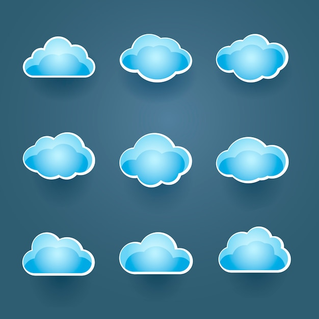 Zestaw Dziewięciu Różnych Ikon Niebieski Wektor Chmura W Różnych Kształtach Koncepcyjnych Prognozy Pogody Lub Przetwarzania W Chmurze Darmowych Wektorów