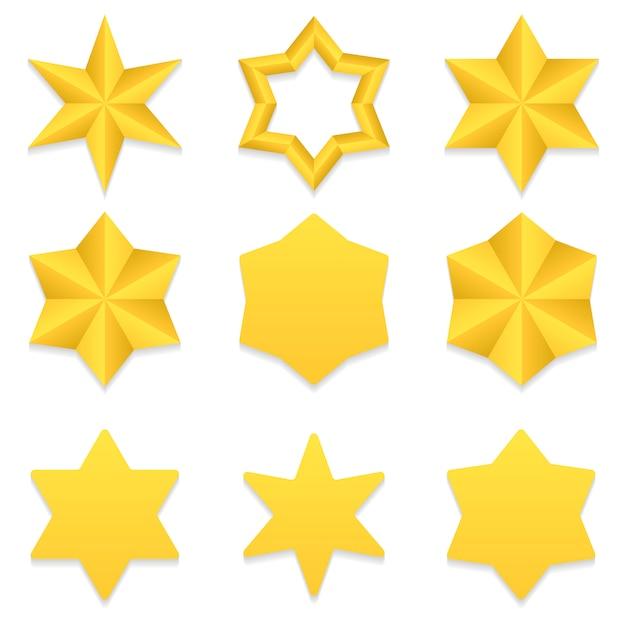 Zestaw Dziewięciu Różnych Złotych Gwiazd Sześć Punktów. Premium Wektorów