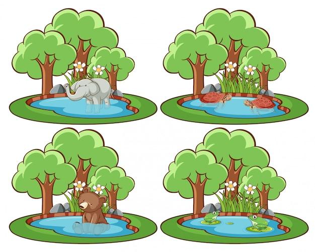 Zestaw Dzikich Zwierząt W Parku Ze Stawem I Drzewem Darmowych Wektorów