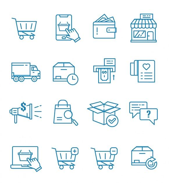 Zestaw E-commerce, Sklep Internetowy I Ikony Zakupów W Stylu Konspektu Premium Wektorów
