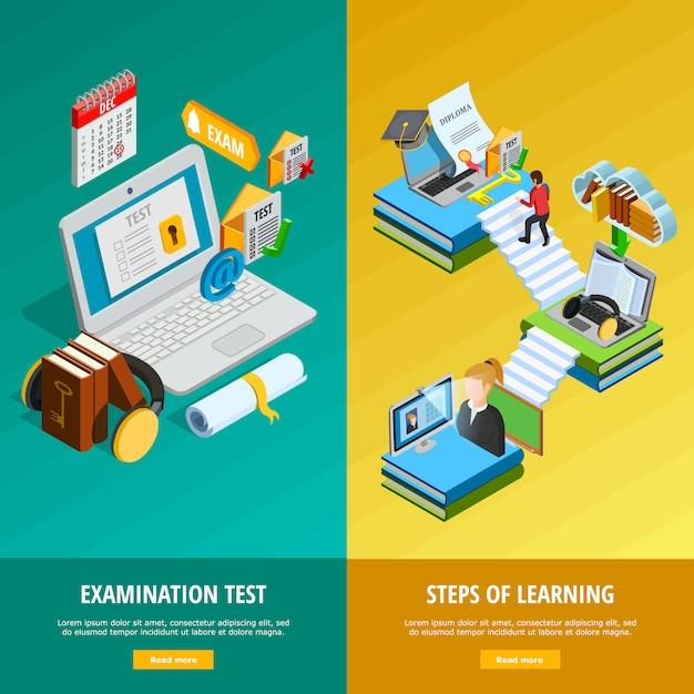 Zestaw e-learningowych pionowych banerów Darmowych Wektorów