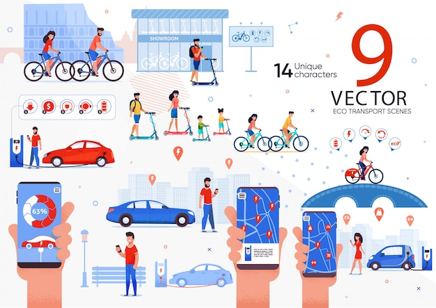 Zestaw Eco Transport Dla Scen Miejskich Premium Wektorów