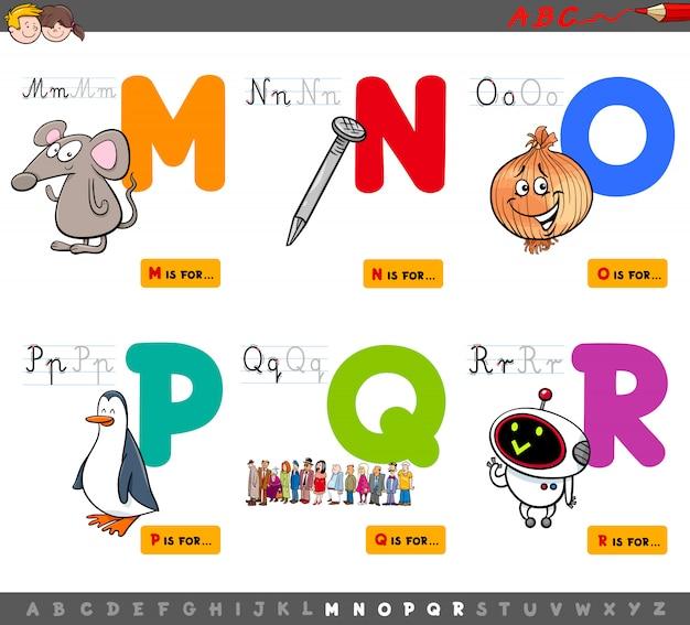 Zestaw edukacyjny alfabet dla dzieci od m do r Premium Wektorów