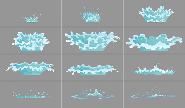 Zestaw Efektów Kapiącej Wody Premium Wektorów