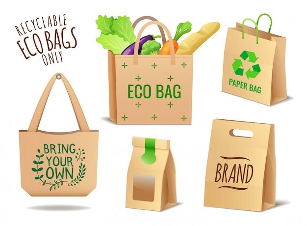 Zestaw Ekologicznych Toreb Tekstylnych, Lnianych I Papierowych, Brak Opakowania Z Tworzywa Sztucznego, Problem Zanieczyszczenia Premium Wektorów