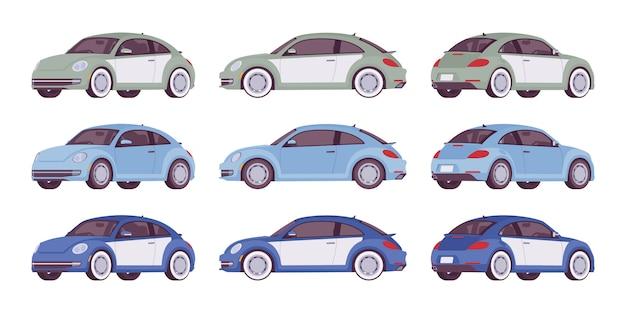 Zestaw Ekonomicznego Samochodu W Kolorach Szarym, Niebieskim Premium Wektorów