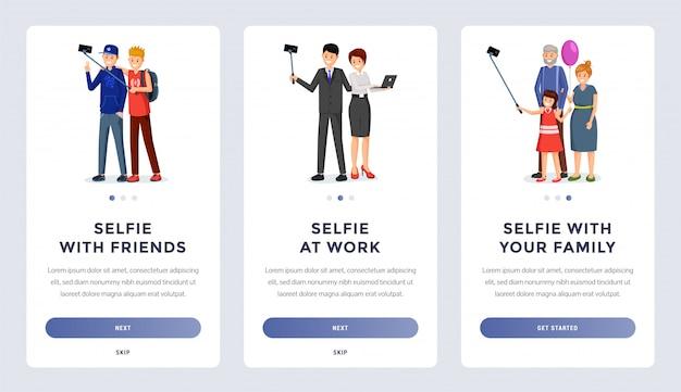 Zestaw Ekranów Do Mobilnej Aplikacji Do Selfie Premium Wektorów