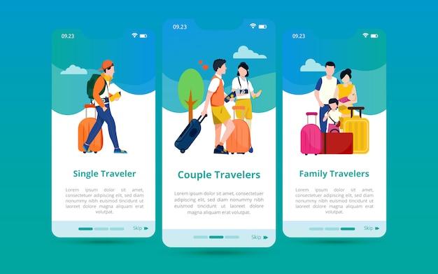 Zestaw Ekranowych Interfejsów Użytkownika Z Ilustracjami Rodzajów Tras Na Podstawie Ich Liczby Premium Wektorów