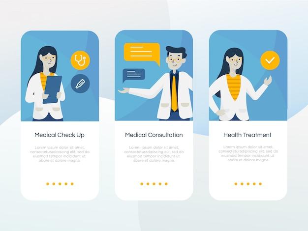 Zestaw ekranu onboarding opieki zdrowotnej Premium Wektorów